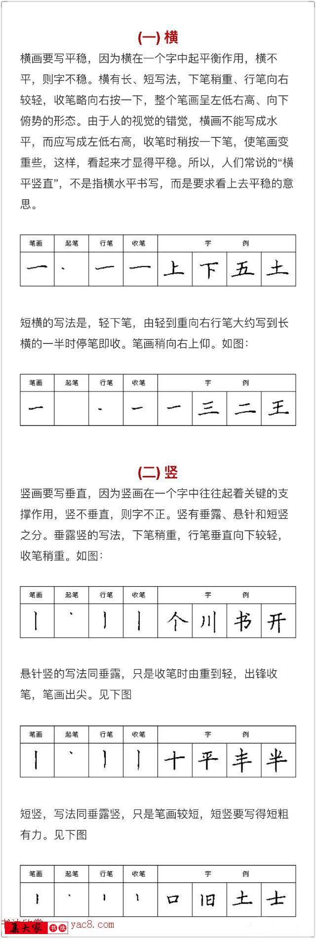 硬笔书法入门教程:基本笔画 行楷书法九课