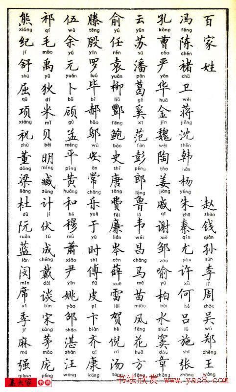 卢中南硬笔书法字帖《百家姓》